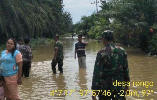 Banjir Akibat Tingginya Curah Hujan di Sebagian Wilayah Koramil 05/Thu Kodim 0117/Atam