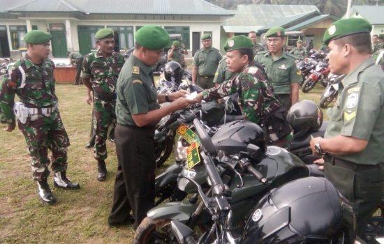 Kodim 0117/Aceh Tamiang Gelar Pemeriksaan Kendaraan Dinas Babinsa