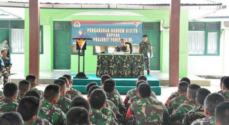 Danrem 012/TU Berikan Pembekalan Kepada Prajurit Yonif 115/ML