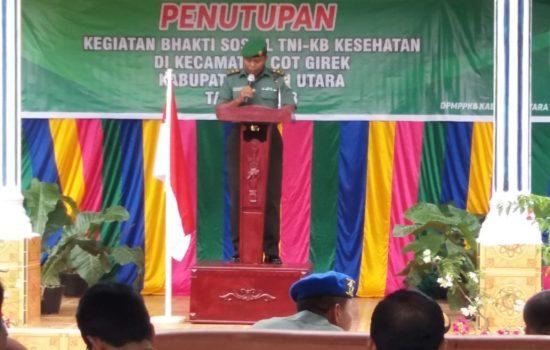 Pabung Kodim 0103/Aceh Utara Tutup Bhakti Sosial TNI – KB Kesehatan