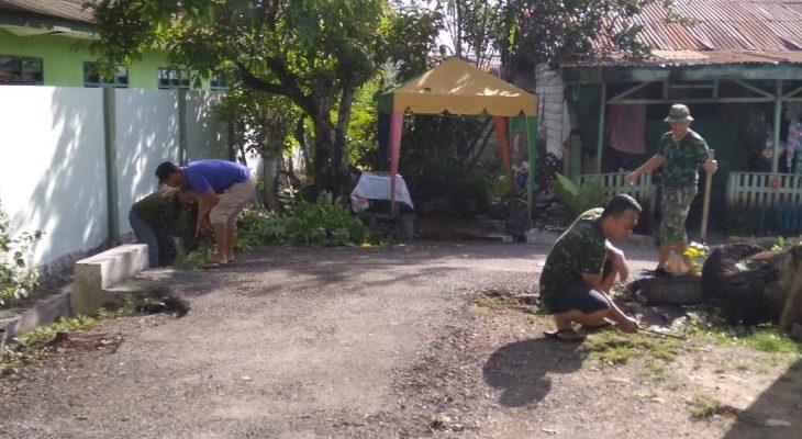 Demi Kebersihan Lingkungan Perumahan Asrama, Anggota Kodim 0117/Atam Kormas