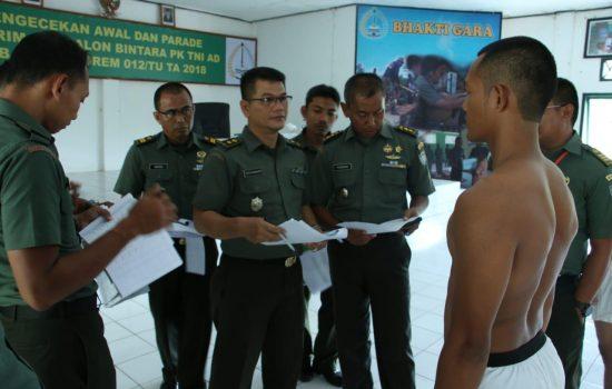 Korem 012/TU Gelar Sidang Parade Calon Bintara PK TNI-AD TA 2018