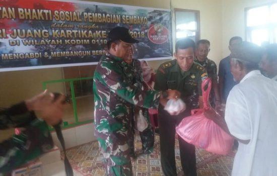 Peringati HJK ke-73, Kodim 0110/Abdya Bagikan Sembako