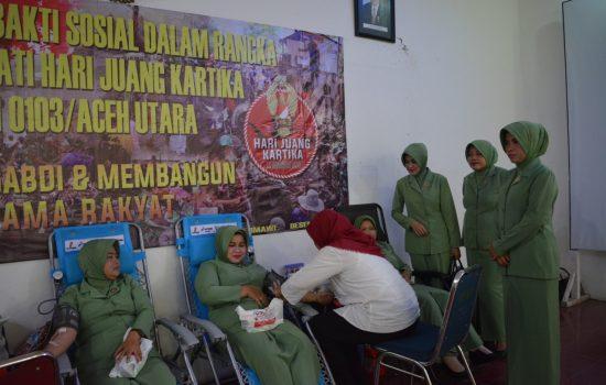 Sukseskan Hari Juang Kartika Persit Kodim 0103/Aut Donor Darah