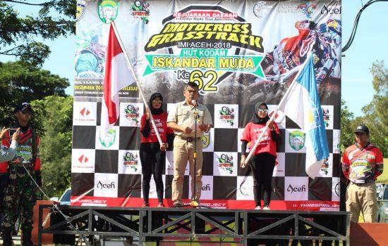 Kasdam IM Buka Kejuaraan Daerah Grasstrack Motocross GTX-MX IMI Aceh 2018