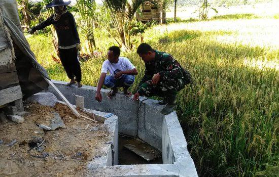 Babinsa dan Perangkat Desa Tinjau Saluran Irigasi