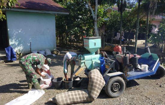 Silaturahmi ke Desa, Babinsa Lamno Bantu Warga Giling Padi
