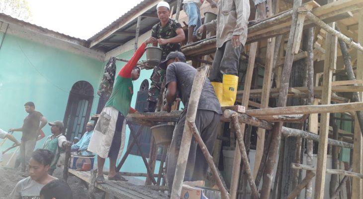 TNI Dan Warga Bergotong Royong Membangun Masjid