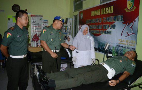 HUT ke 73 Corp Pomad, Denpom IM/2 Meulaboh Gelar Donor Darah