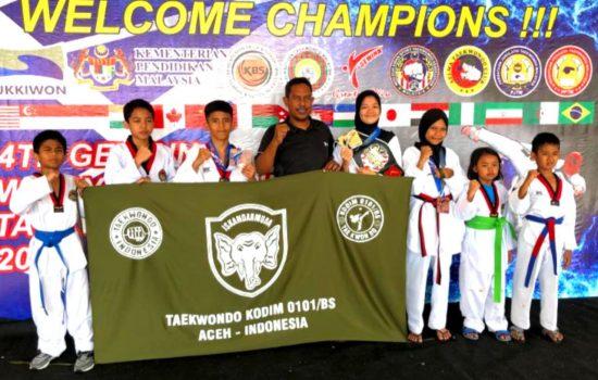 Atlit Taekwondo Dojang Kodim 0101/BS Raih 3 Medali