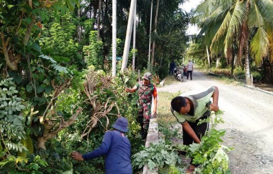 Sambut HUT RI Ke 74, Babinsa Koramil 09/Samatiga Bersama Warga Gotong-Royong