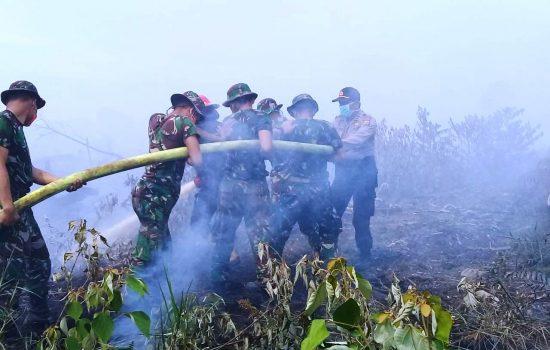 Personil TNI – POLRI dan BPBD Berjibaku Padamkan Api