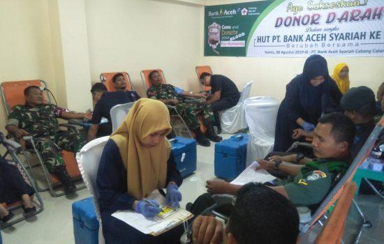 Personil Kodim Aceh Jaya Donor Darah