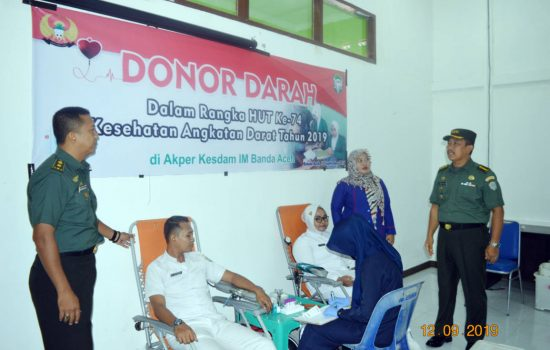 109 Orang Donor Darah di Aula Akper Kesdam IM