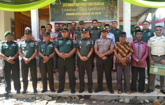 Tim Penilai Desa Mandiri Tahun 2019, Menyambangi Kodim 0110/Abdya