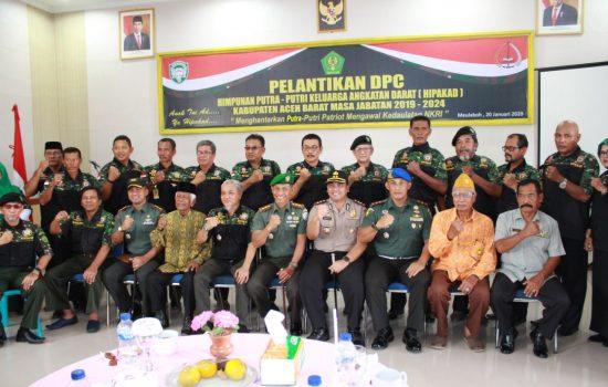 Dandim 0105/Abar Hadiri Pelantikan DPC Hipakad Aceh Barat