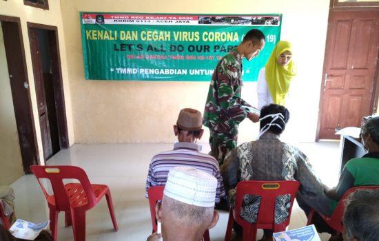 Satgas TMMD Sosialisasi Pencegahan Virus Korona bagi Warga Desa Panggong