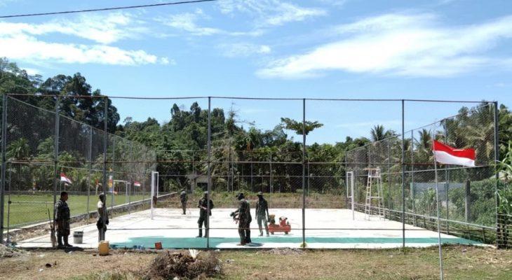 Satgas TMMD Benahi Lapangan Voli Desa Panggong