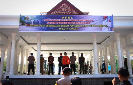 Dandim 0104/Atim Ikuti Apel Penyemprotan Disinfektan di Kota Langsa