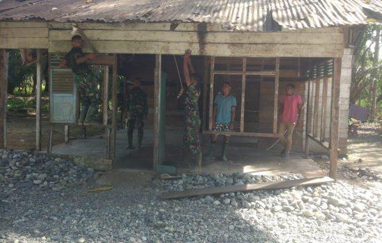 Akhirnya Rumah Janda Dara Rusli Di Rehab Personel Satgas TMMD Kodim Nagan Raya
