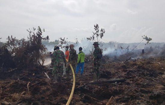 Babinsa Tadu Raya Berhasil Padamkan Kebakaran Lahan Milik Warga