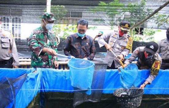 Dukung penuh Ketahanan Pangan, Dandim Aceh Selatan dan Unsur Forkompimda Aceh Selatan Hadiri Panen Ikan