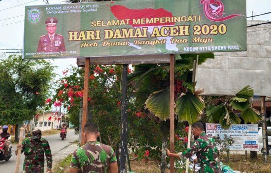 Kodim Nagan raya Pasang Spanduk Hari Damai Aceh ke 15