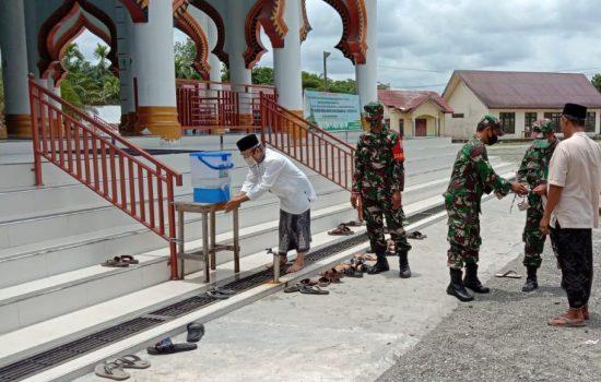 Cegah Covid 19, Kodim Nagan Raya Tekankan Himbauan Prokes Di Mesjid Mesjid