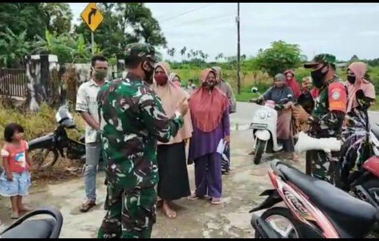 Babinsa Dan Muspika Kecamatan Setia Terus Lakulan Sosialisasi Prokes Covid 19 Secara Persuasif