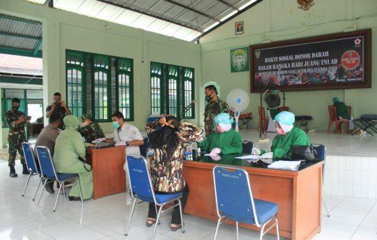 Sambut HJK Tahun 2020, Kodim 0107/Aceh Selatan Gelar Bhakti Sosial Donor Darah