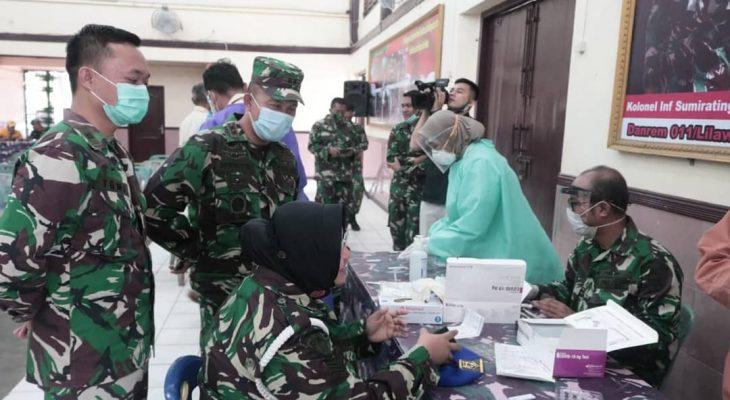 Puluhan Prajurit TNI di Korem 011/LW Ikut Sosialisasi Vaksinasi COVID-19 dan Swab Antigen