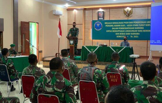 Prajurit Kodim 0103/Aceh Utara Laksanakan Tes Urine Melalui Kegiatan P4GN.
