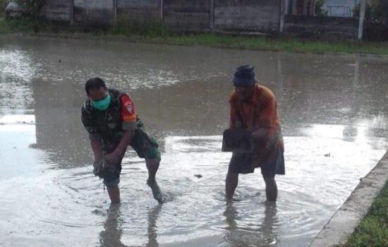 Babinsa Koramil 03/Seunagan Timur bantu Petani bersihkan rumput Sawah sebelum tanam Padi